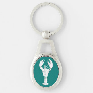 White Lobster on Turquoise / Teal Key Ring