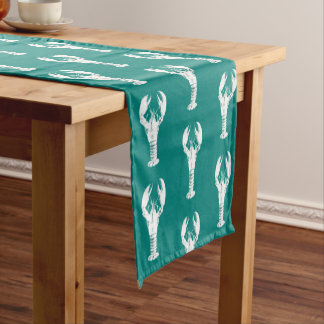 White Lobster on Turquoise / Teal Short Table Runner