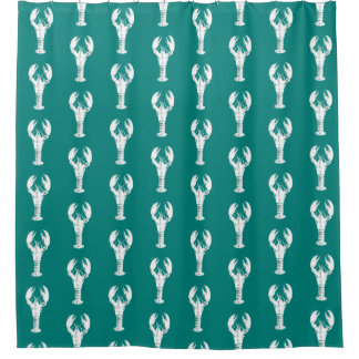 White Lobster on Turquoise / Teal Shower Curtain