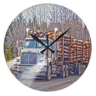 White Logging Truck Lumber Mill Delivery Art Wallclocks