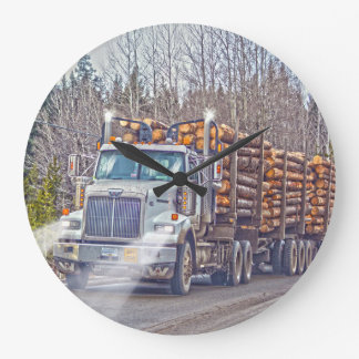 White Logging Truck Lumber Mill Delivery Art Large Clock