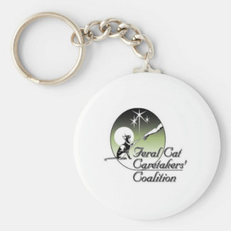 White Logo Feral Cat Caretakers Keychain