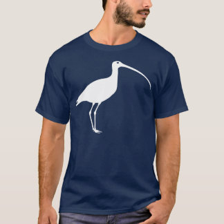 White Long Billed Curlew Bird T-Shirt
