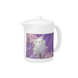 White Long Haired Kitten Teapot