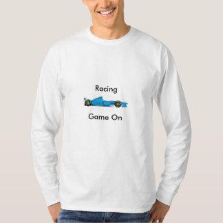 White Long Sleeve Racing  Tee. Tee Shirt