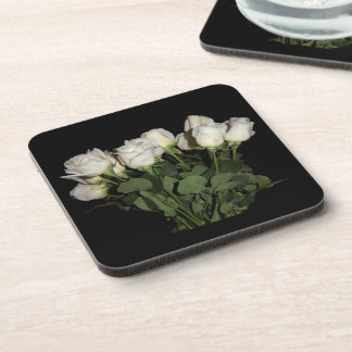 White Long-Stemmed Roses Photo on Black Background Coaster