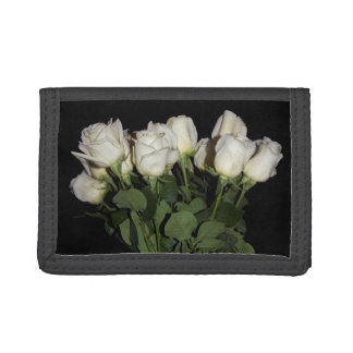 White Long-Stemmed Roses Photo on Black Background Trifold Wallet