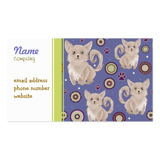 White Longhaired Chihuahua Pattern Business Card Template