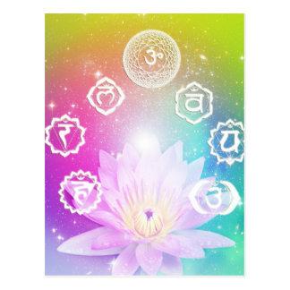 white lotus 7 chakras aura energy system postcard