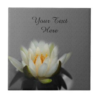 White Lotus Blossom Flower Tile