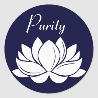 White Lotus Blossom Purity Round Sticker