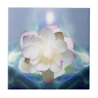 White lotus flower in blue crystal ceramic tiles