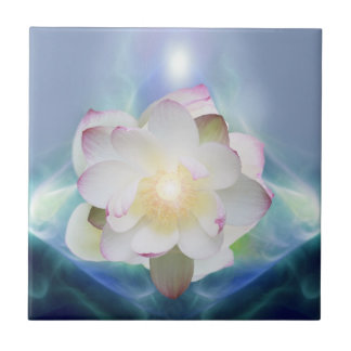 White lotus flower in blue crystal ceramic tile