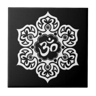 White Lotus Flower Om on Black Small Square Tile