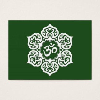 White Lotus Flower Om on Green