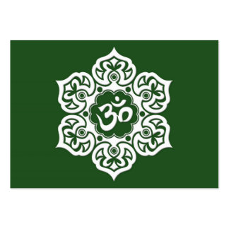 White Lotus Flower Om on Green Pack Of Chubby Business Cards
