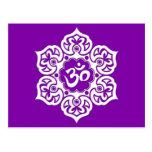 White Lotus Flower Om on Purple Post Cards