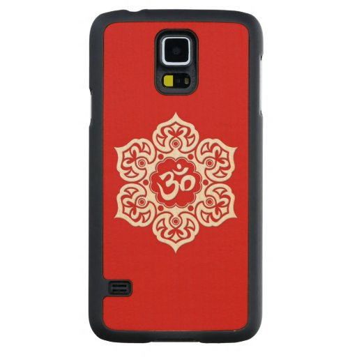 White Lotus Flower Om on Red Carved® Maple Galaxy S5 Slim Case