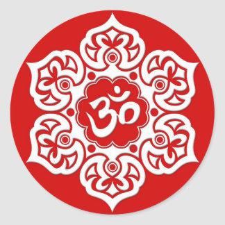 White Lotus Flower Om on Red Classic Round Sticker