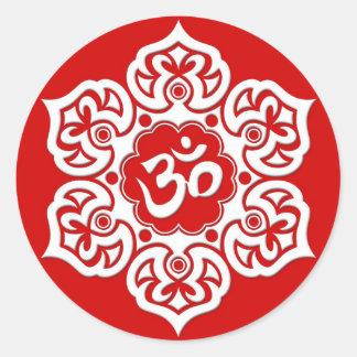 White Lotus Flower Om on Red Classic Round Sticker