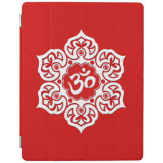 White Lotus Flower Om on Red iPad Cover