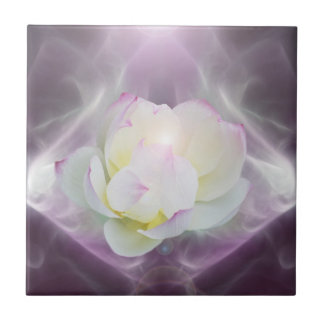 White lotus flower small square tile
