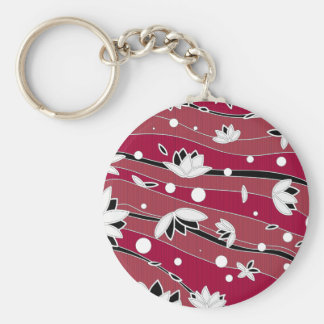 White Lotus Flowers on Red Stripes Key Ring