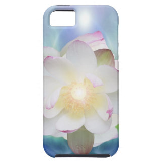 White lotus in blue crystal iPhone 5 cover
