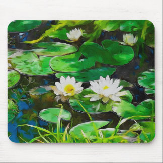 White Lotus In The Pond Mouse Pad