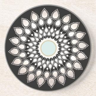 White Lotus Mandala Sandstone Coaster