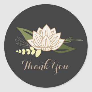 White Lotus Thank You Round Sticker