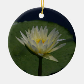 White Lotus Waterlily Flower Christmas Ornament