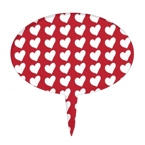 White Love Hearts on Dark Red Cake Toppers