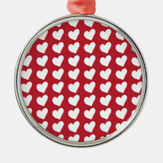 White Love Hearts on Dark Red Christmas Ornament