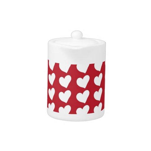 White Love Hearts on Dark Red