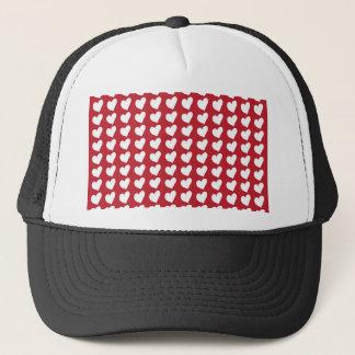 White Love Hearts on Dark Red Trucker Hat