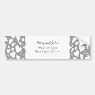 white love & hearts on gray bumper sticker
