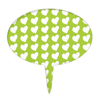 White Love Hearts on Lime Green Cake Toppers
