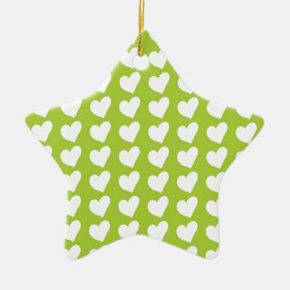 White Love Hearts on Lime Green Ceramic Star Decoration