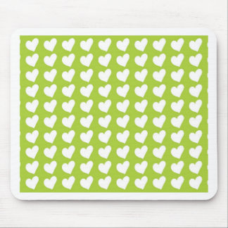 White Love Hearts on Lime Green Mouse Pad