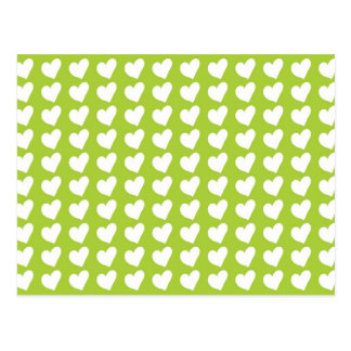 White Love Hearts on Lime Green Postcard