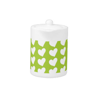 White Love Hearts on Lime Green