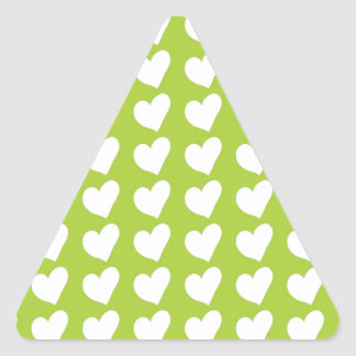 White Love Hearts on Lime Green Triangle Sticker