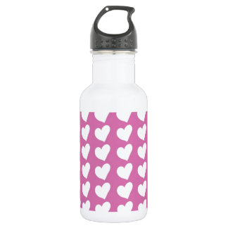 White Love Hearts on Mid Pink 532 Ml Water Bottle