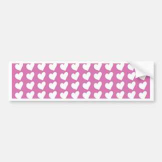White Love Hearts on Mid Pink Bumper Sticker