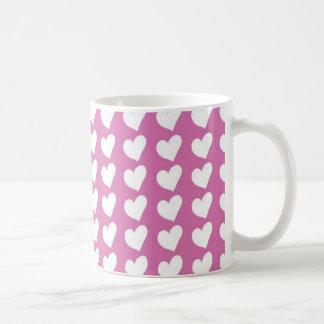 White Love Hearts on Mid Pink Coffee Mug