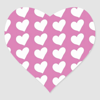 White Love Hearts on Mid Pink Heart Sticker