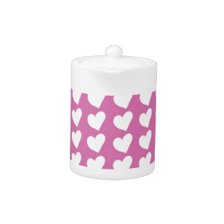 White Love Hearts on Mid Pink