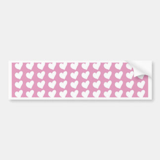 White Love Hearts on Pale Baby Pink Bumper Sticker