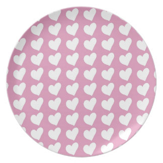 White Love Hearts on Pale Baby Pink Dinner Plate